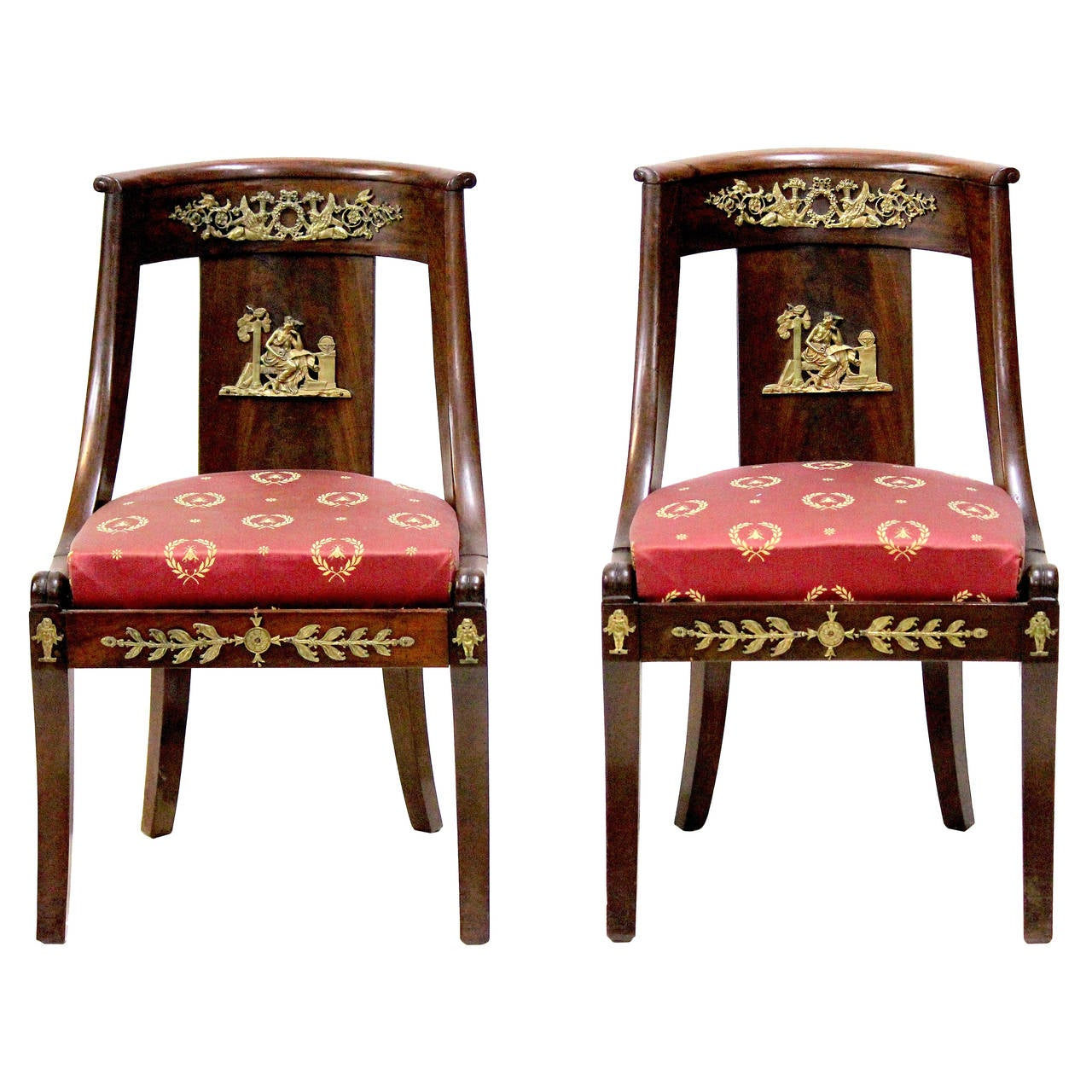 period french empire chairs circa 1825 with bonaparte