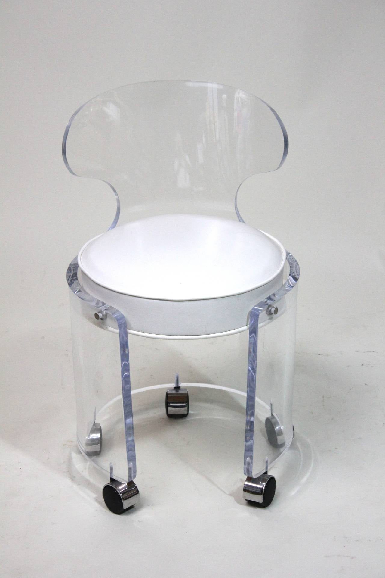 1970 Lucite Vanity Chair Glam in White Leather Charles Hollis
