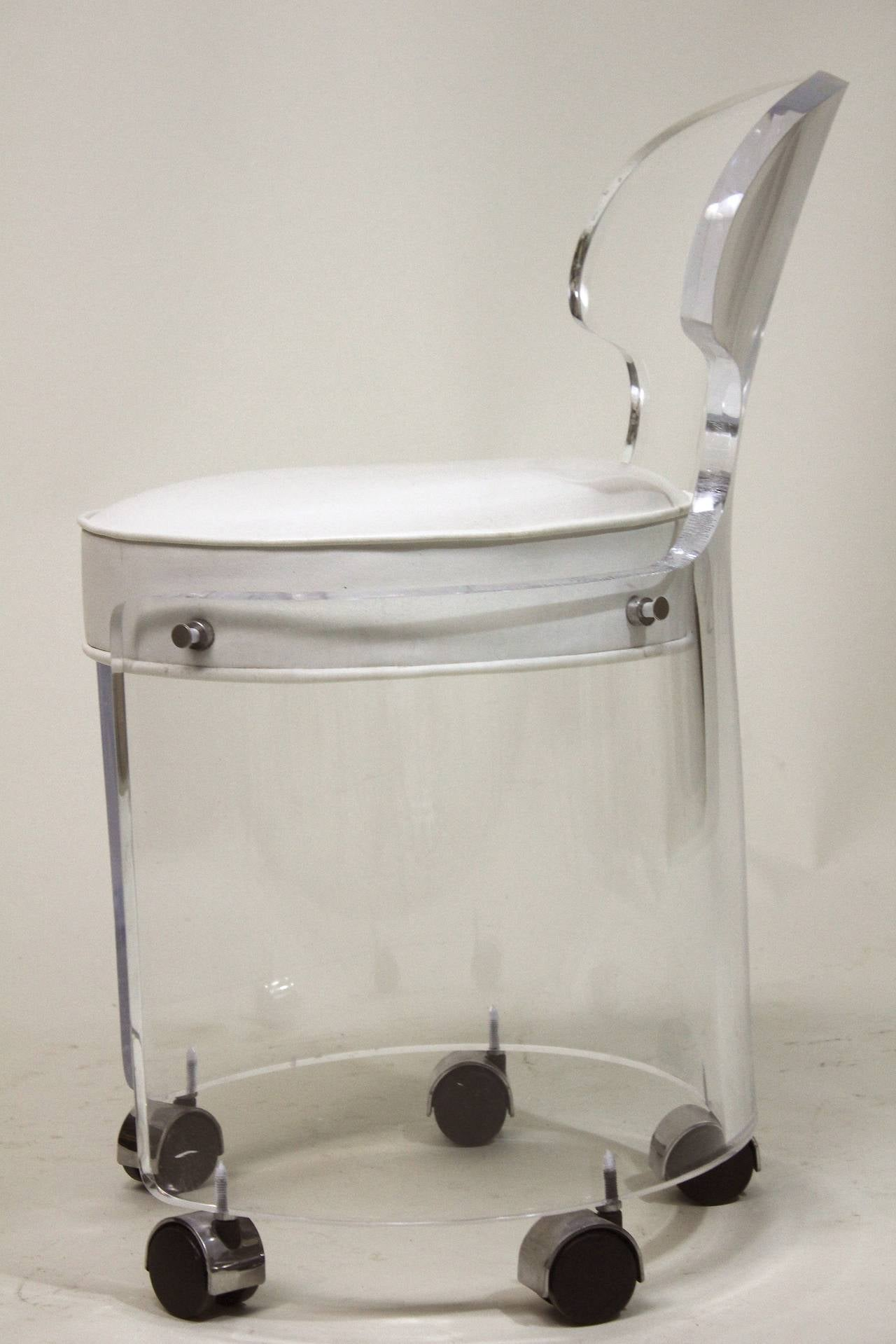 1970 Lucite Vanity Chair Glam in White Leather Charles
