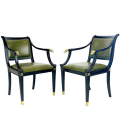 High Regency 'Dog' Armchairs Superb with Brass Dog Head Finials, circa 1930