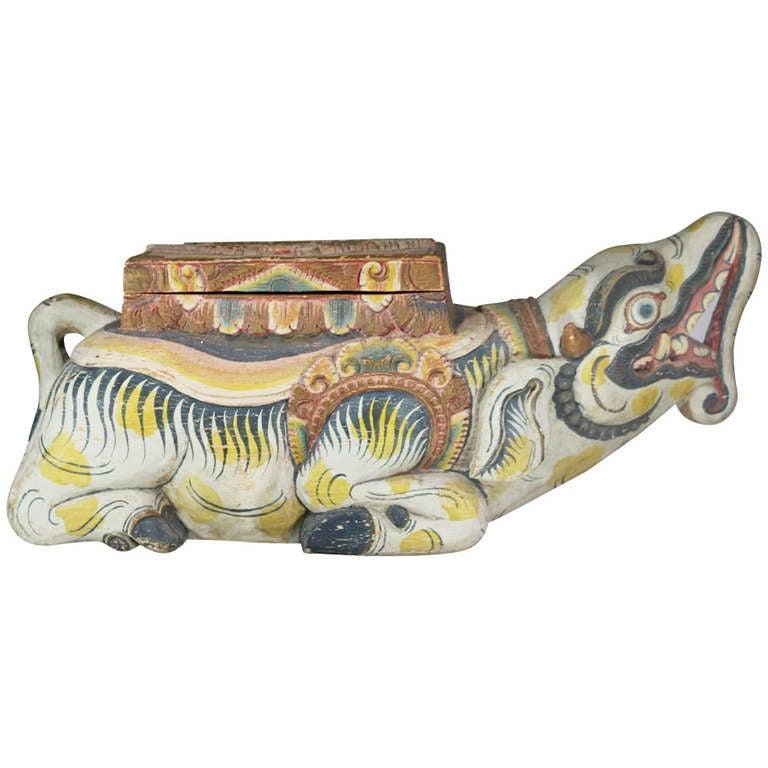Large Indonesian Carved Colorful Wood Mythical Animal Figural Box For Sale