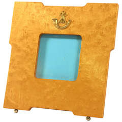 1960s Swedish Birdseye Maple Picture Frame Brass Ornamentation and Provenance