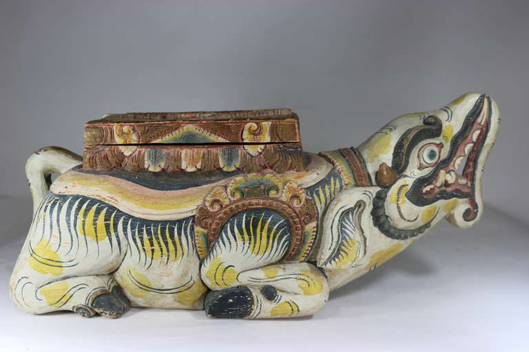 Folk Art Large Indonesian Carved Colorful Wood Mythical Animal Figural Box For Sale