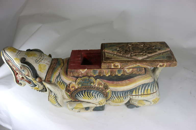 Large Indonesian Carved Colorful Wood Mythical Animal Figural Box For Sale 2