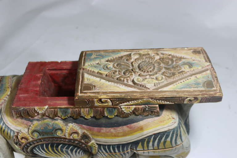 Large Indonesian Carved Colorful Wood Mythical Animal Figural Box For Sale 3