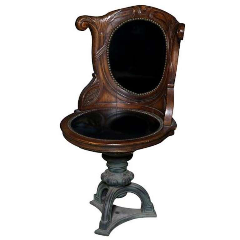 Rare Art Nouveau Walnut Desk Swivel Chair, 1890 1910 With Provenance For  Sale