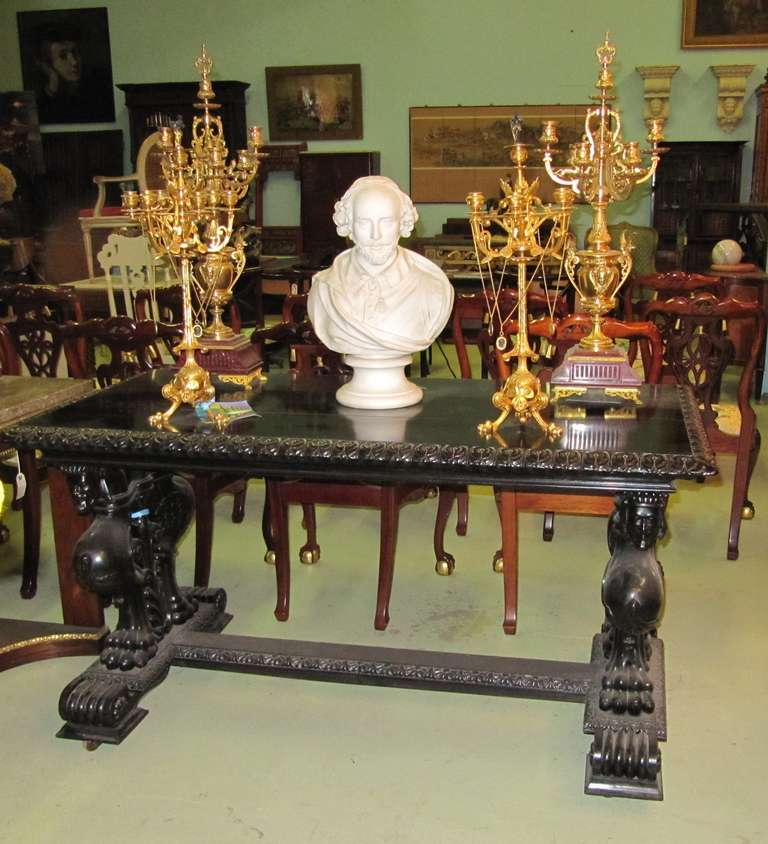 Ebonized Important Grand Estate English Ebony Console Table Desk. 19th century For Sale