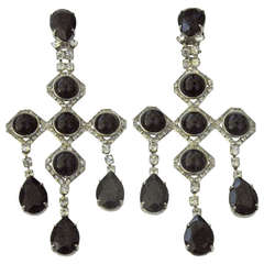 1940s Runway Pair Onyx Diamente Sterling Chandelier Earrings