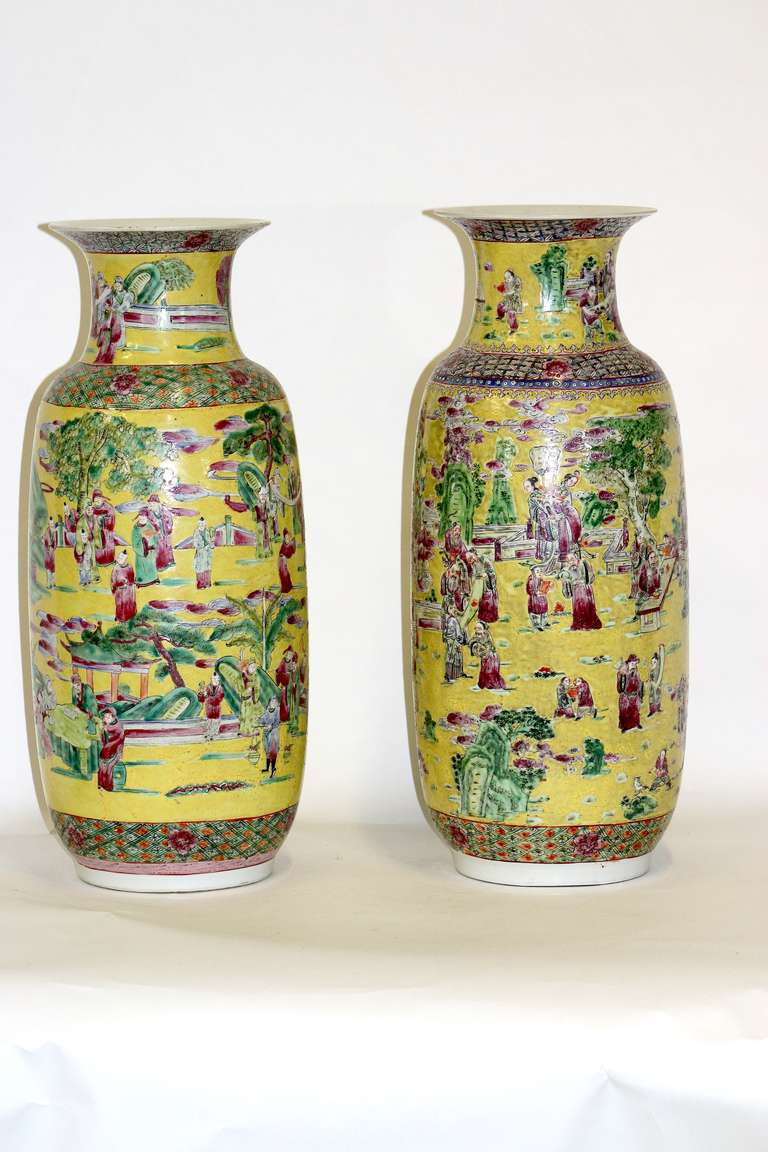 Massive imperial style palatial yellow chinese porcelain vases 19th century rare fine complementary pair of chinese imperial yellow porcelain palatial size vases with hand reviewsmspy