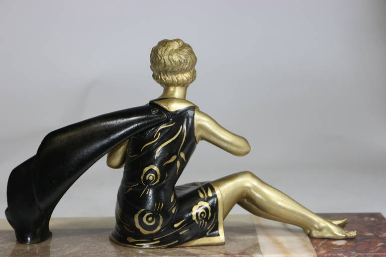 1930s Art Deco Sculpture Lady with Flower 'He Loves Me, He Loves Me Not' For Sale 3
