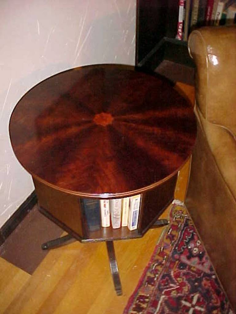 Classic Mahogany Revolving Bookcase With Marquetry Inlay Star Duncan Phyfe  Style 3