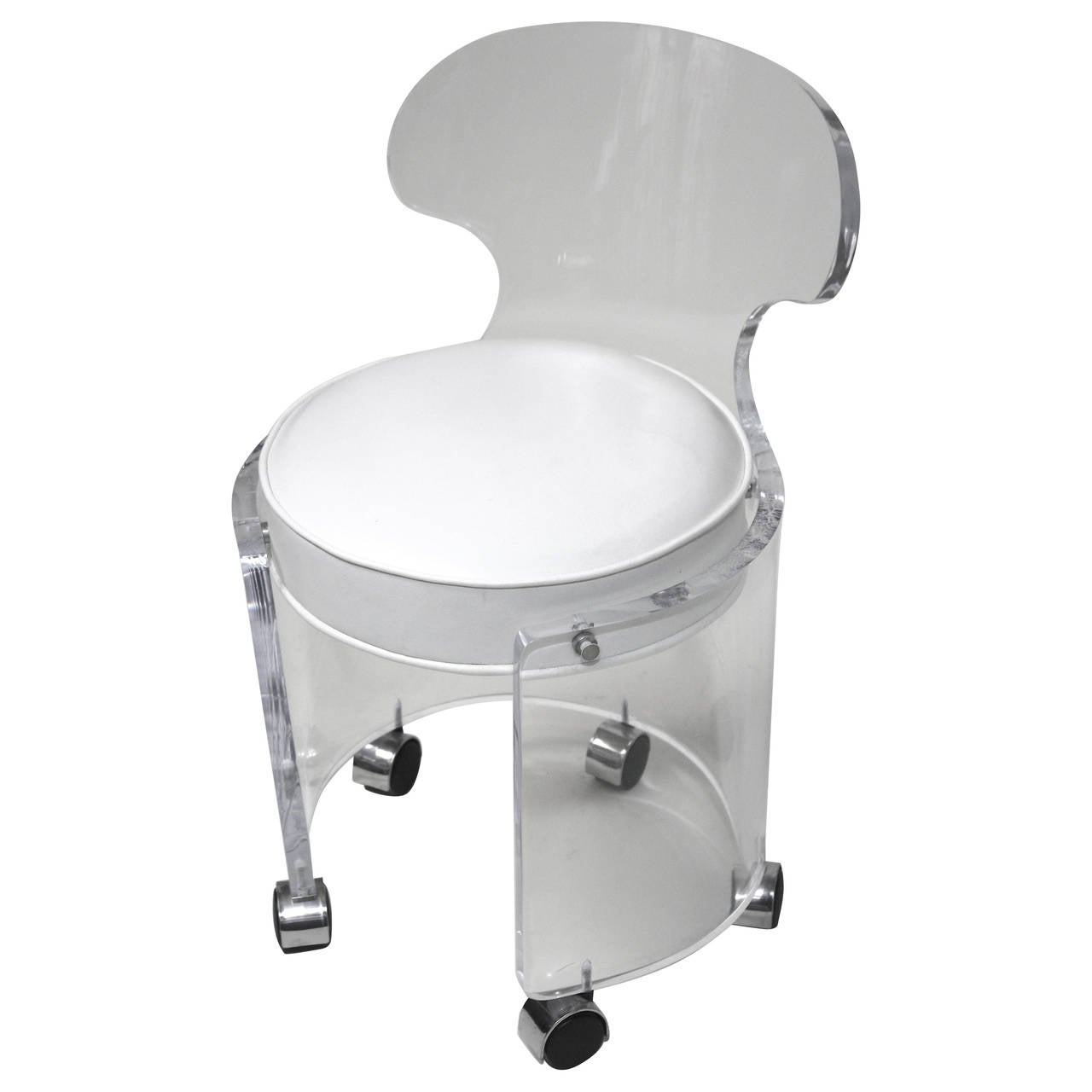 1970 lucite vanity chair glam in white leather charles hollis jones style for sale at 1stdibs - Vanity stool with wheels ...