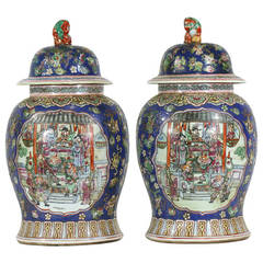 Pair of Large Chinese Porcelain Cobalt Covered Ginger Jars with Foo Dog