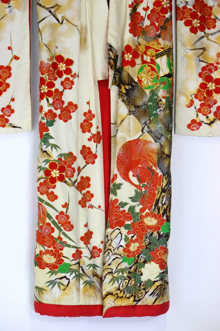 Vintage Japanese Silk Wedding Kimono Embroidered With Gold And Colorful Thread For Sale At 1stdibs