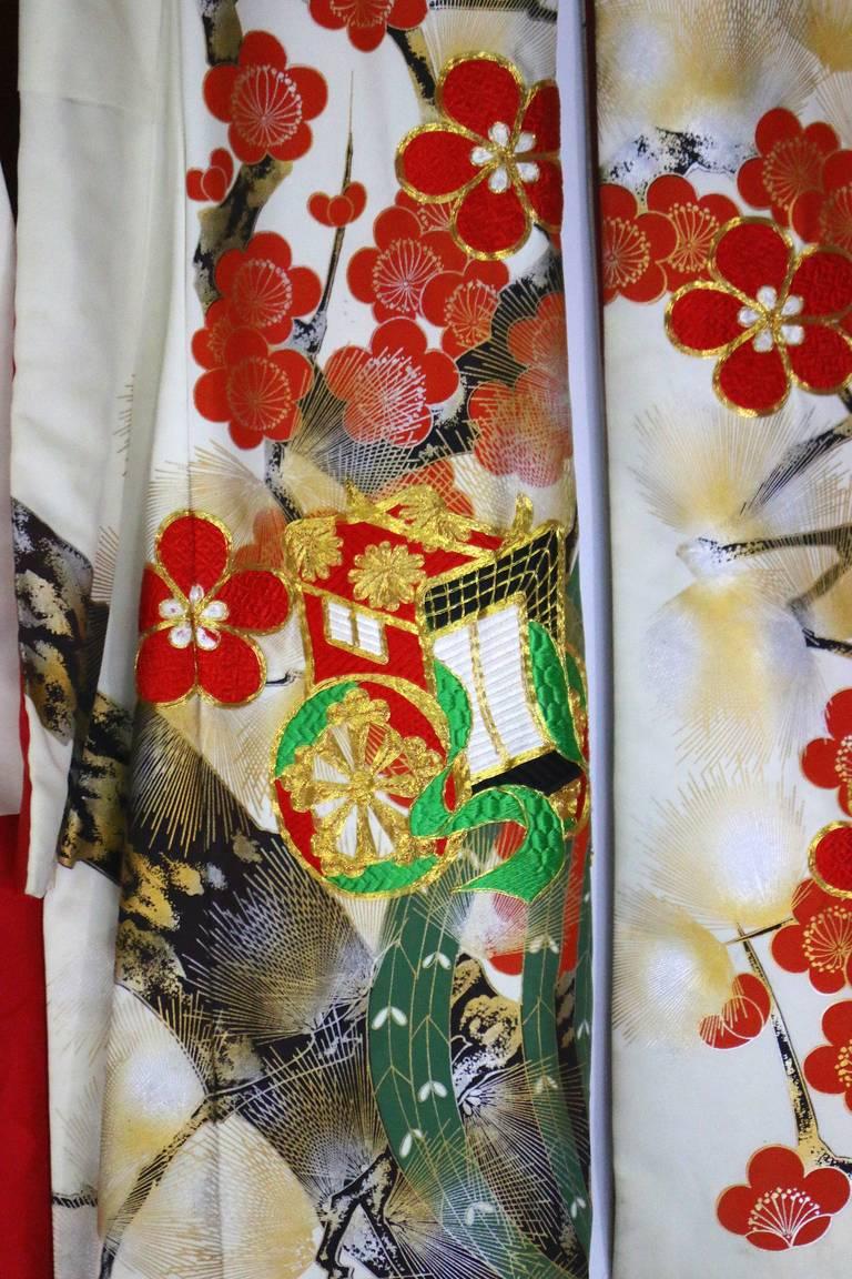 Vintage Japanese Silk Wedding Kimono Embroidered with Gold ...