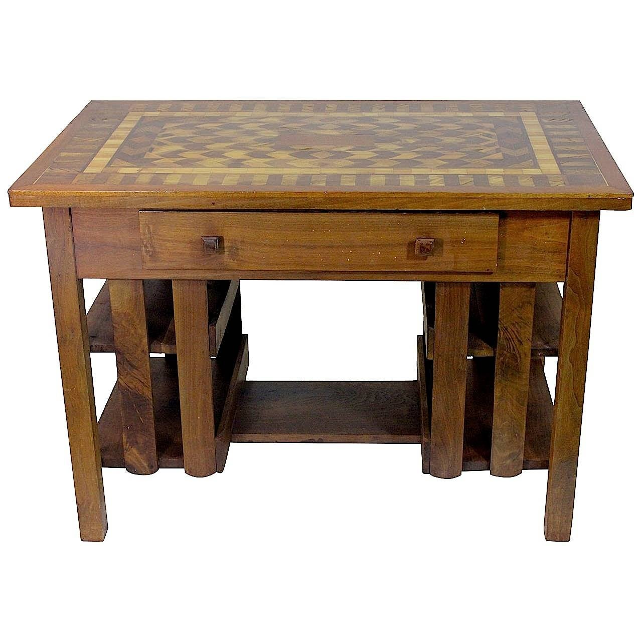 American Superb Stickley Style Mission Desk Writing Library Table Marquetry Top For