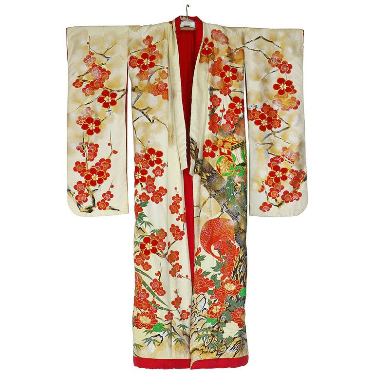 Vintage Japanese Silk Wedding Kimono Embroidered With Gold And Colorful Thread At 1stdibs