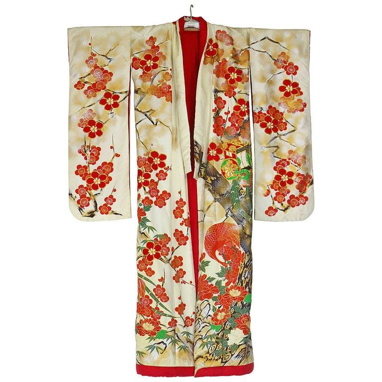 Vintage Japanese Silk Wedding Kimono Embroidered With Gold