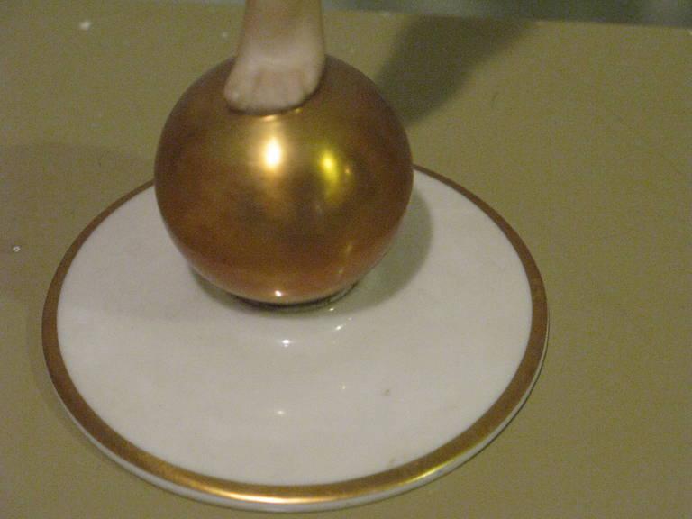 Beautiful Art Deco Hutschenreuther Nude Goddess Sculpture on a Golden Ball For Sale 4