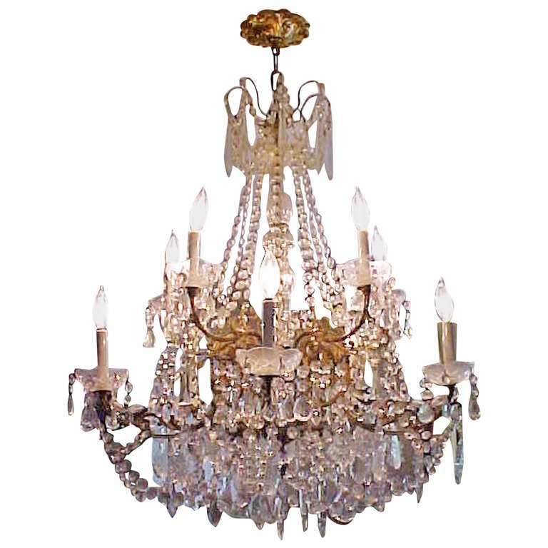 Lustrous 19th Century Ten-Light Large French Louis XV Multi Crystal Chandelier