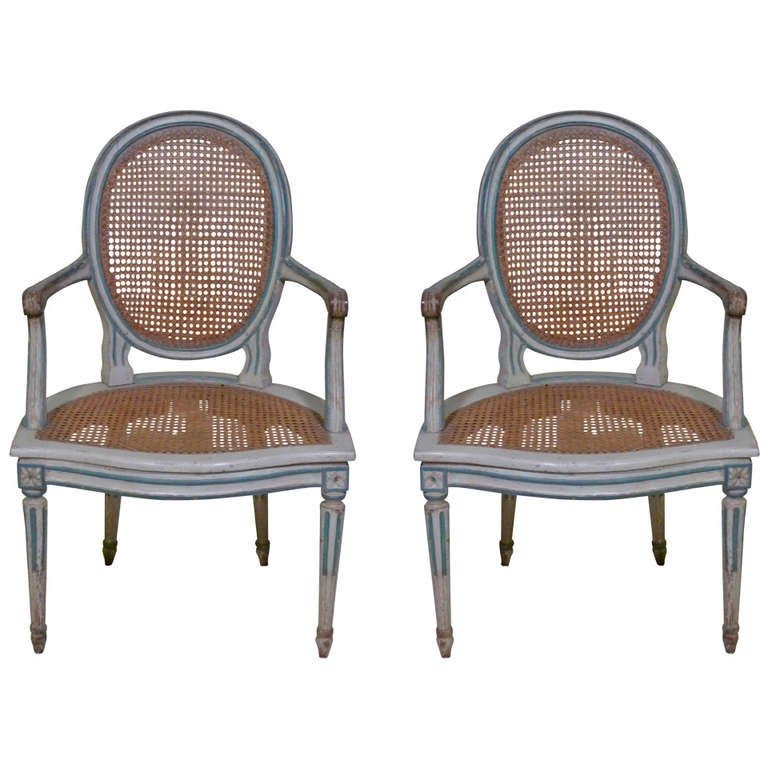 18th Century Louis XVI Painted Armchairs in Duchess de Rothschild Style For Sale