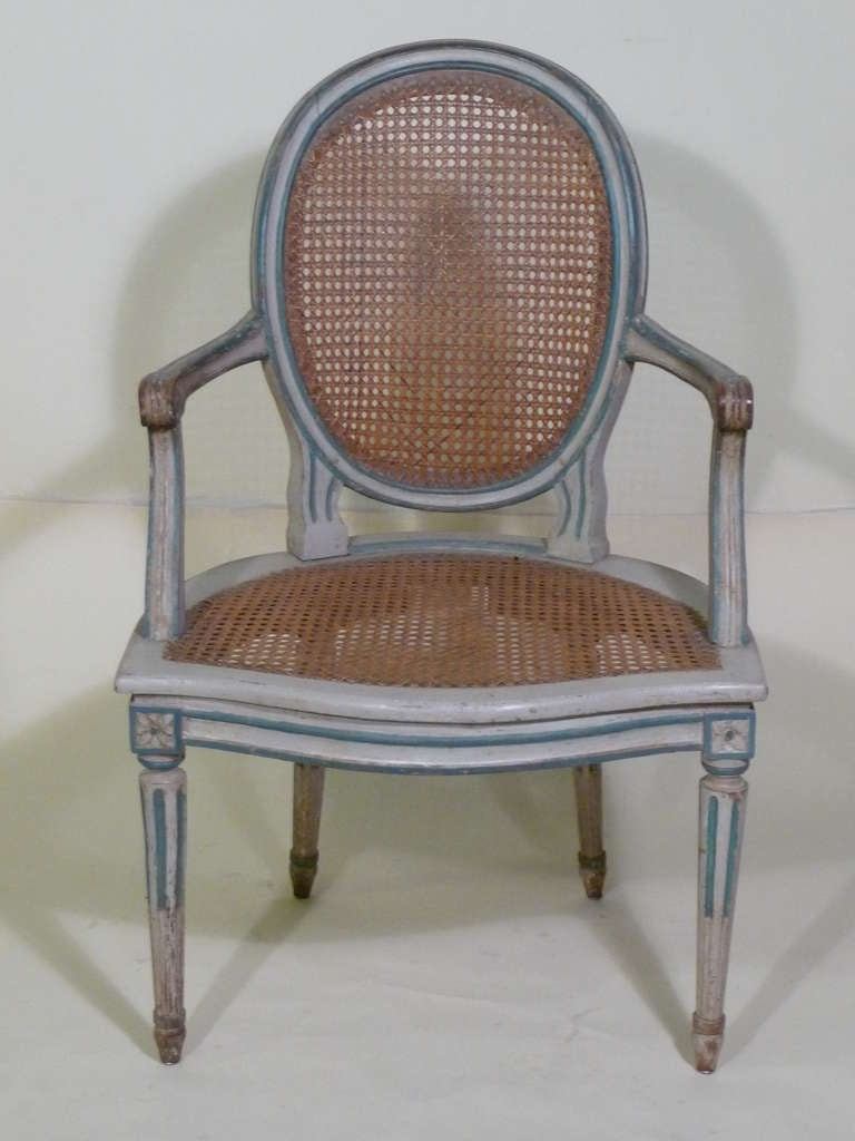 French 18th Century Louis XVI Painted Armchairs in Duchess de Rothschild Style For Sale