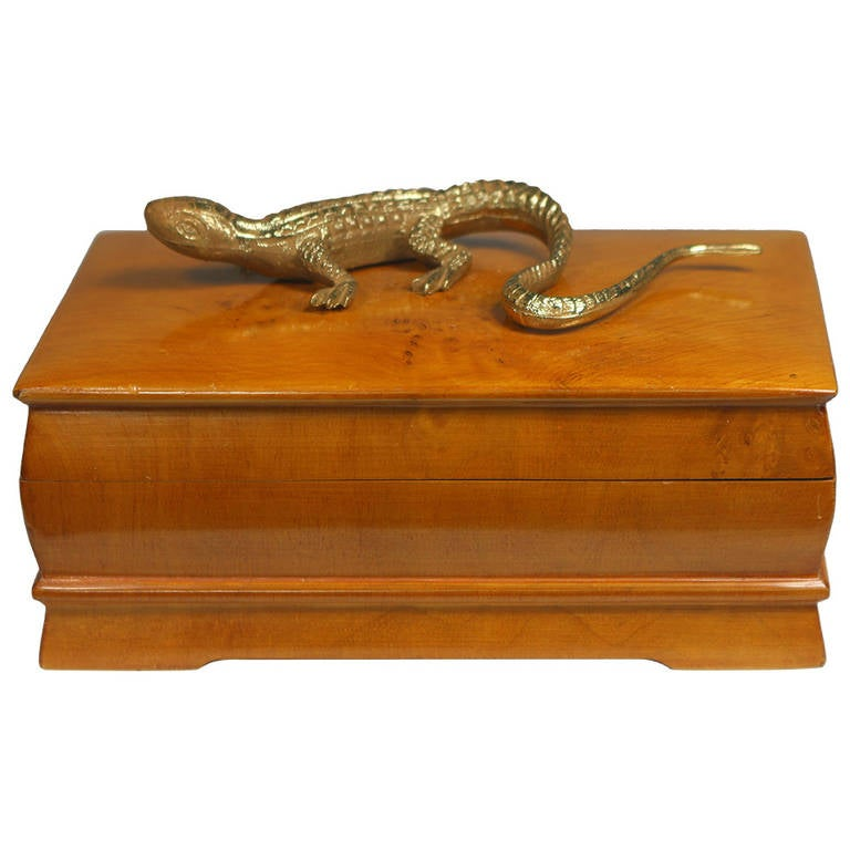 Swedish Elm Burl Box with Gecko Embellishment