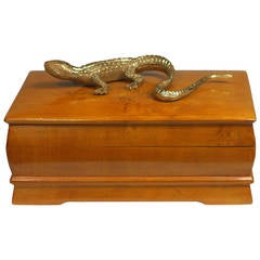 Swedish Elm Burl Box with Gecko Embellishment