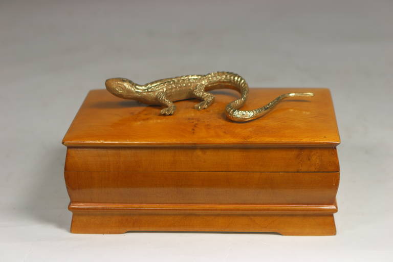 Swedish Elm Burl Box With Gecko Embellishment For Sale At