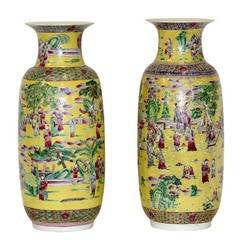 Massive Imperial Style Palatial Yellow Chinese Porcelain Vases 19th century