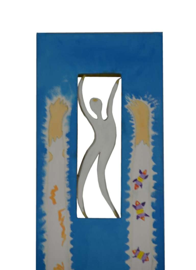 Futurist Noted Contemporary Artist Ronn Jaffe's Iconic Mythological Painting 'Cyan Totem' For Sale