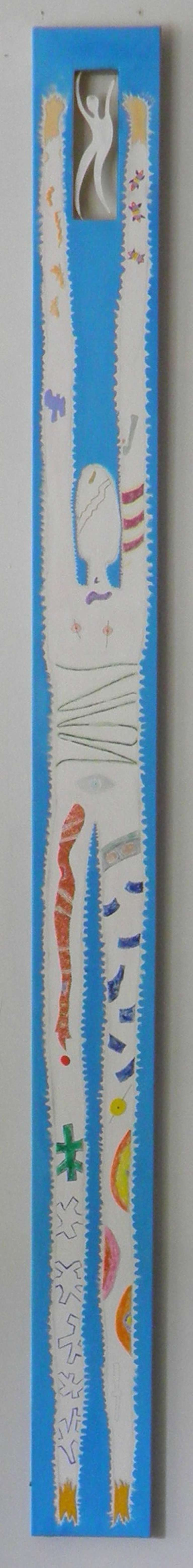 Noted contemporary artist Ronn Jaffe's mixed-media painting 'Cyan Totem'. Measures: 120 in height x 10 in wide--One of his Gatherings of Totems Around his Myth of Holloman & Totem.  This is a major seminal piece from Ronn Jaffe's Myth of