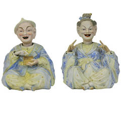 Pair of Large Meissen Style Figures of Nodding Pagodas Late 19th century