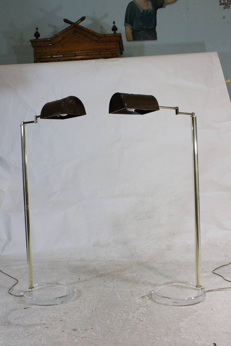 1960 Bauer Lamp Co Swing Arm Dimmable Pharmacy Floor Lamp