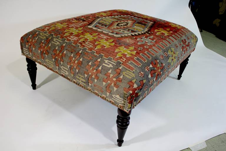 Chic Antique 19th Century Kilim Covered Ottoman Bench For