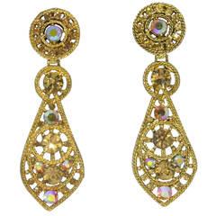 Glam Thelma Deutsch Pendant Earrings with Amber Aurora Borealis Stones