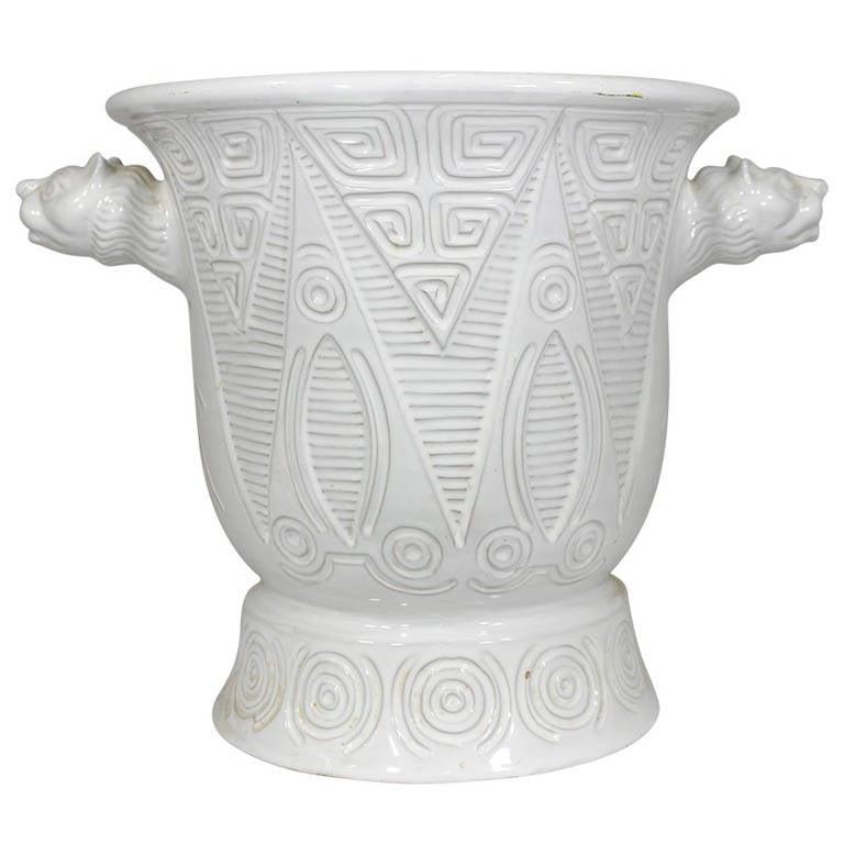 1950 Italian White Ceramic Urn- Geometric Incised Design, Lioness Head Handles