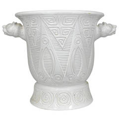 1950 Italian White Ceramic Urn- Geometric Incised Design, Lioness Head Handles
