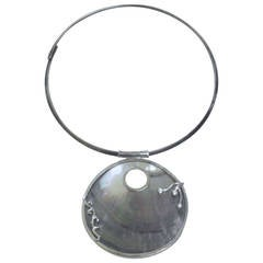Natural Mother-of-pearl Large Amulet Necklace Silver CZ Design, Sterling Collar