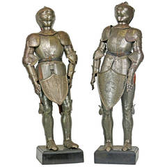 19th Century Pair of Miniature Armor Maquettes in Medieval Renaissance Style