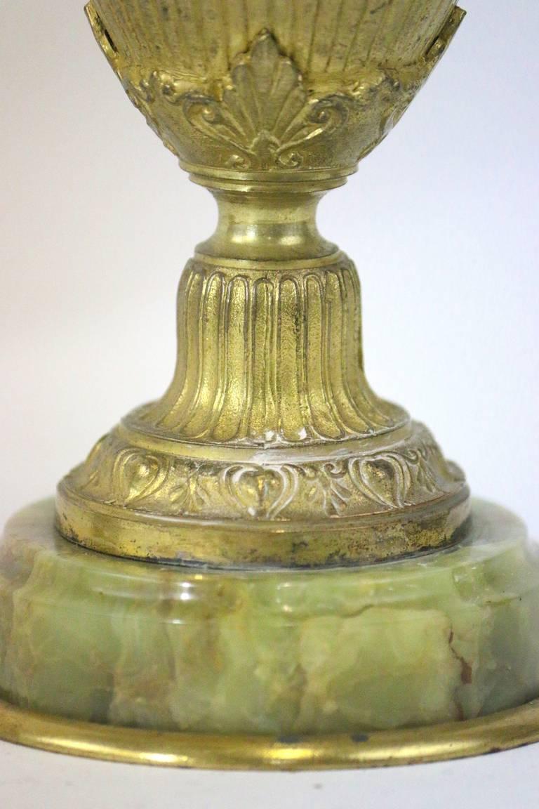 Fine Pair Neoclassic Gilt Bronze Vases Urns Grecian Faces