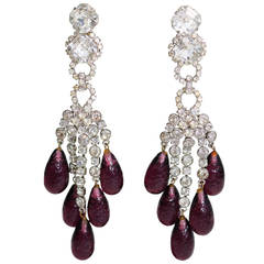 Amazing Robert Sorrell Faux Diamond and Amethyst Chandelier Ear Clips