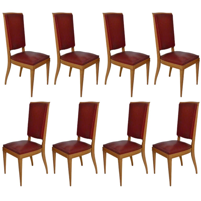 Stunning leleu art deco set of eight sycamore and red for Red dining chairs for sale