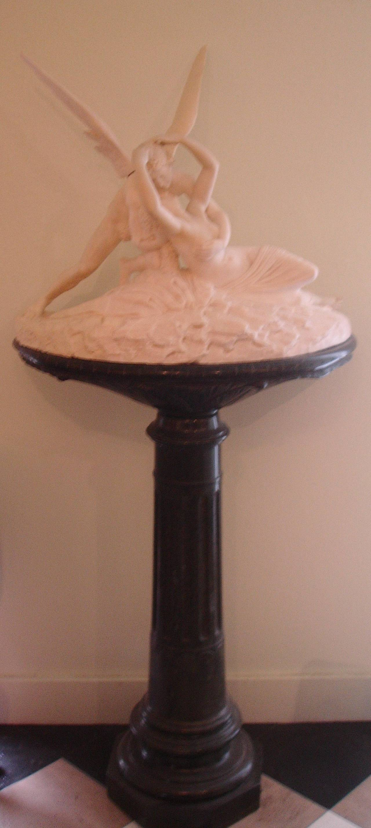 Neoclassical Palatial Marble Sculpture By Barzanti.  'Cupid's Kiss' on Marble Pedestal For Sale