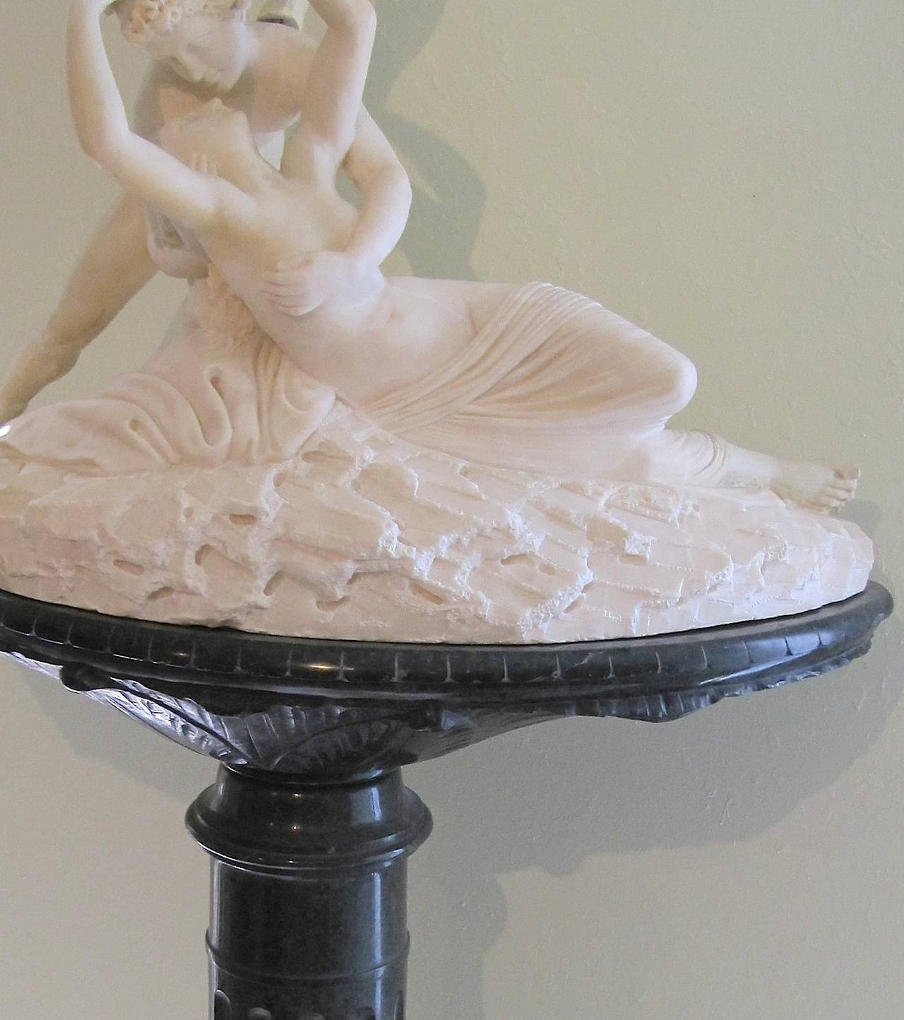 19th Century Palatial Marble Sculpture By Barzanti.  'Cupid's Kiss' on Marble Pedestal For Sale