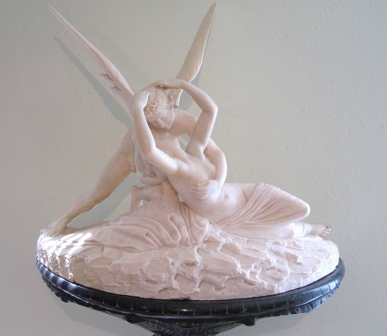 Statuary Marble Palatial Marble Sculpture By Barzanti.  'Cupid's Kiss' on Marble Pedestal For Sale