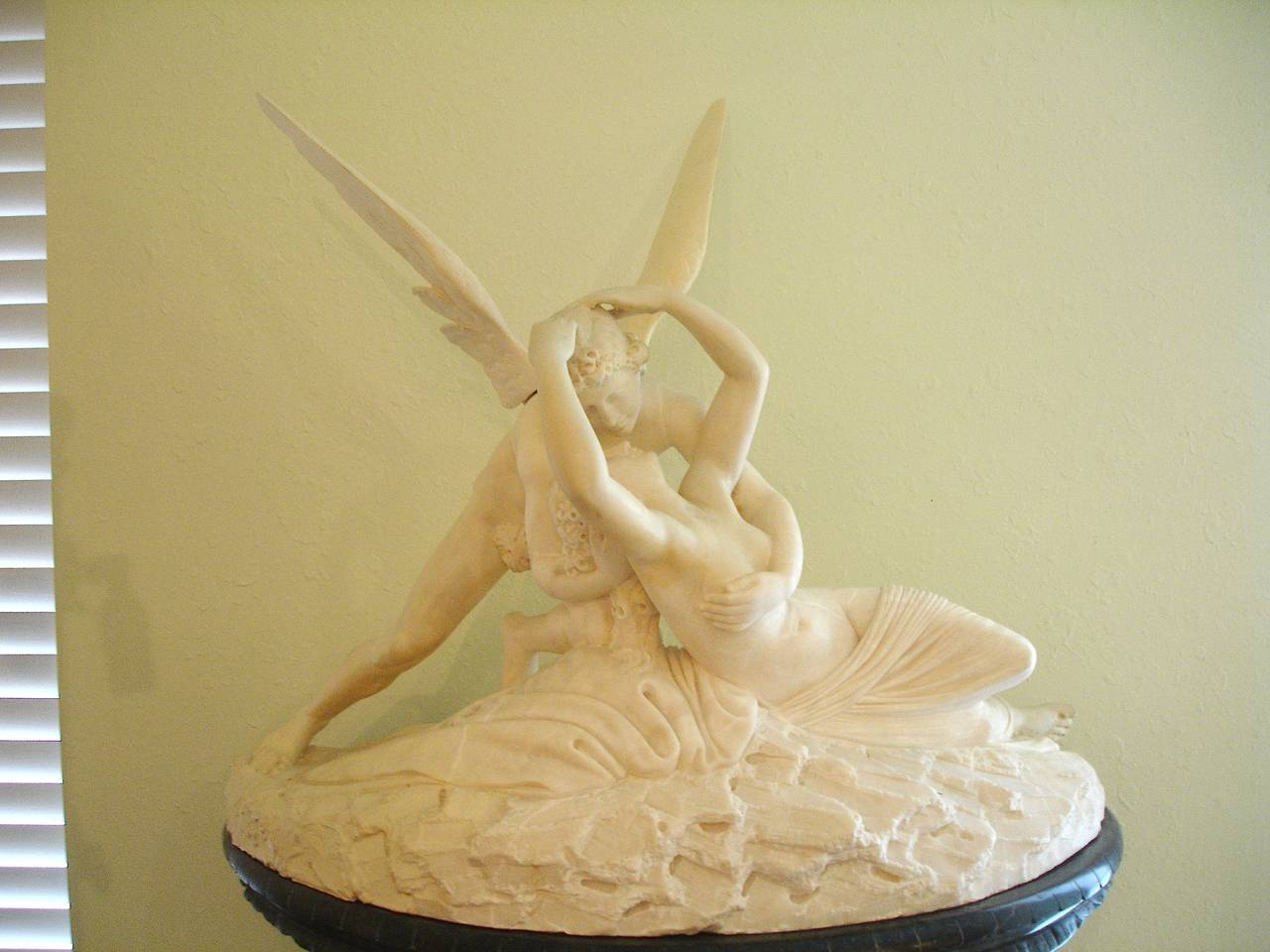 Hand-Carved Palatial Marble Sculpture By Barzanti.  'Cupid's Kiss' on Marble Pedestal For Sale