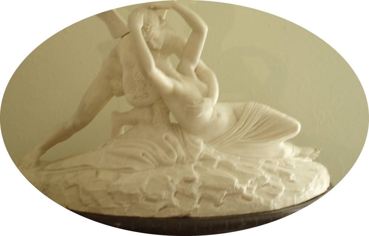 Palatial Marble Sculpture By Barzanti.  'Cupid's Kiss' on Marble Pedestal In Good Condition For Sale In West Palm Beach, FL