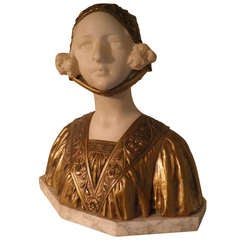 Dutch Queen Wilhelmina Marble Gilt Bronze Signed- Historic Sculpture circa 1890