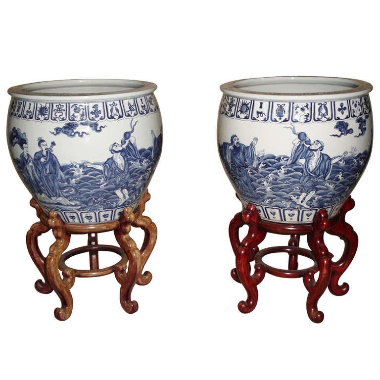 Monumental Chinese Blue White Porcelain Jardinieres Urns 19th century